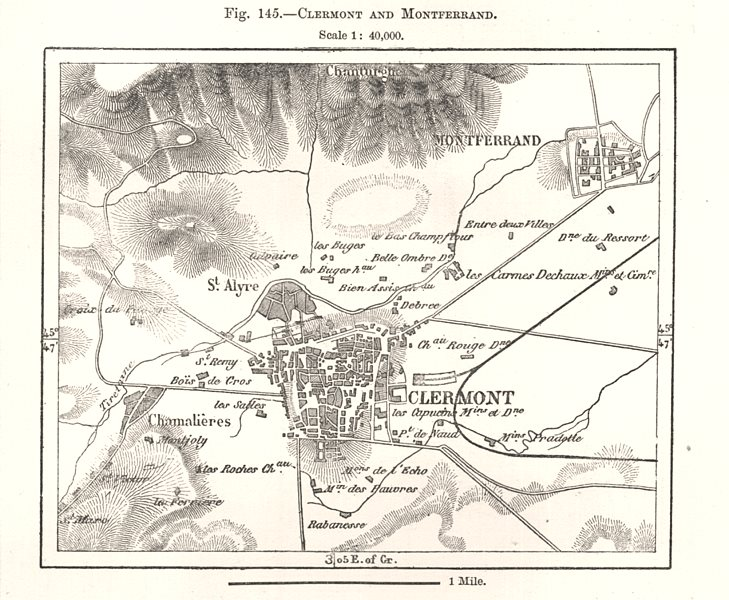 Associate Product Clermont and Montferrand city town plan. Puy-de-Dôme. Sketch map 1885 old