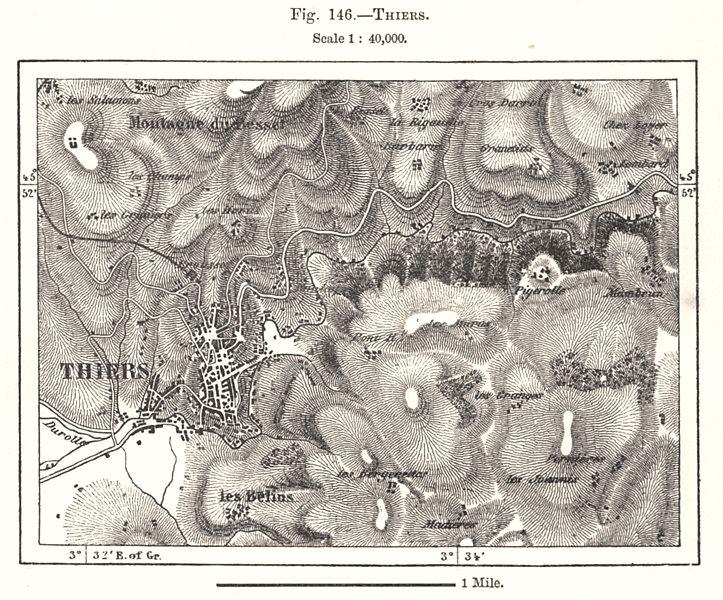 Associate Product Thiers town city plan. Puy-de-Dôme. Sketch map 1885 old antique chart