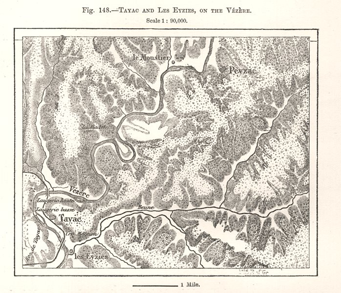 Associate Product Tayac and Les Eyzies, on the Vézère. Peyzac. Gironde. Sketch map 1885 old