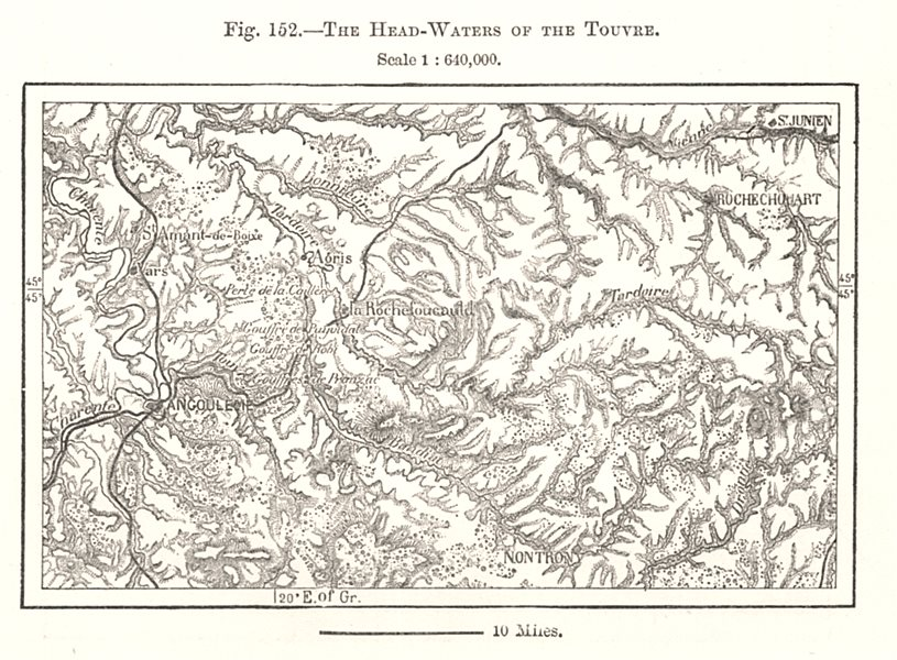 Associate Product The Head-waters of the Touvre. Angoulême. Charente. Sketch map 1885 old