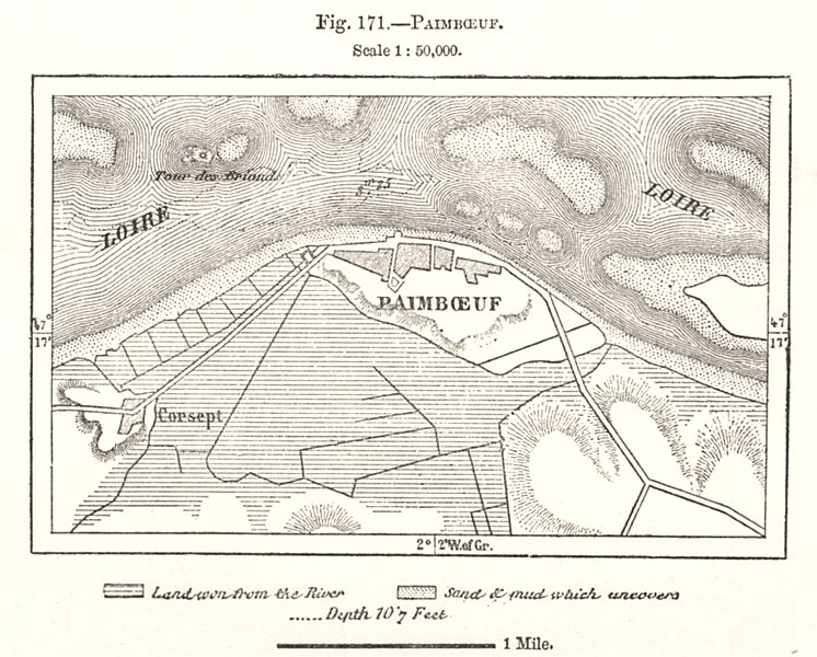 Paimboeuf town plan. Loire-Atlantique. Sketch map 1885 old chart