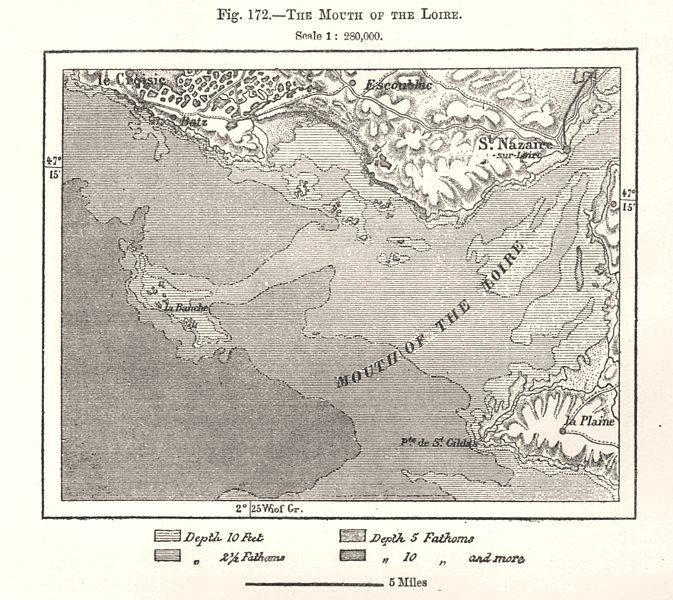 Associate Product The Mouth of the Loire. St Nazaire. Loire-Atlantique. Sketch map 1885 old