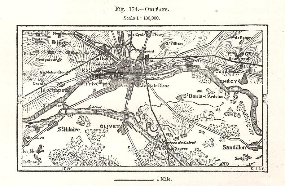 Associate Product Orléans Orleans & environs. Loiret. Sketch map 1885 old antique plan chart