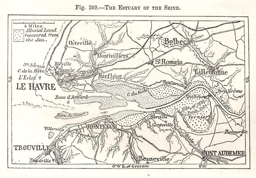Associate Product Seine estuary. Le Havre. Trouville Honfleur. Seine-Maritime. Sketch map 1885