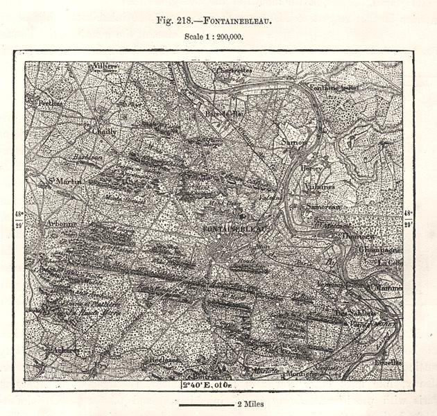 Associate Product Fontainebleau. Seine-et-Marne. Sketch map 1885 old antique plan chart