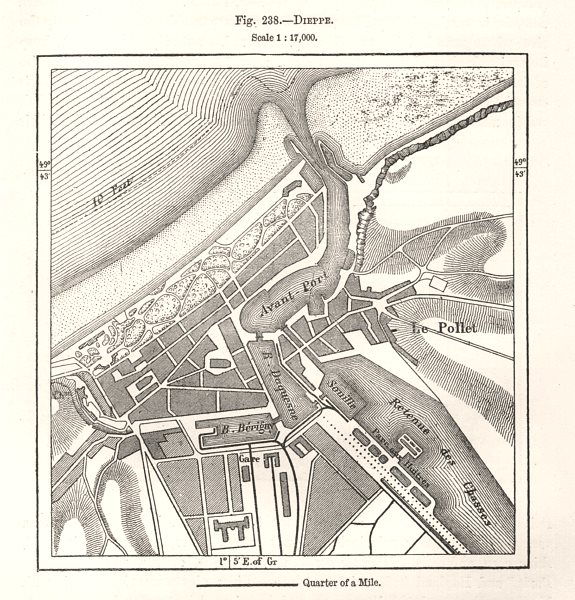 Associate Product Dieppe town city plan. Seine-Maritime. Sketch map 1885 old antique chart
