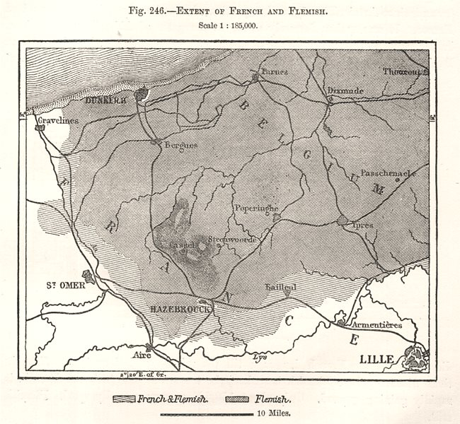 Associate Product Extent of French and Flemish languages. Dunkirk. Nord France. Sketch map 1885
