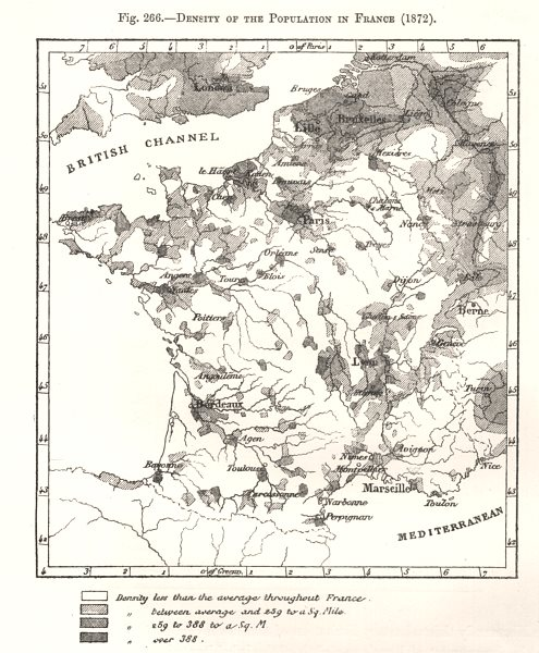 Associate Product Density of the Population in France (1872). Sketch map 1885 old antique