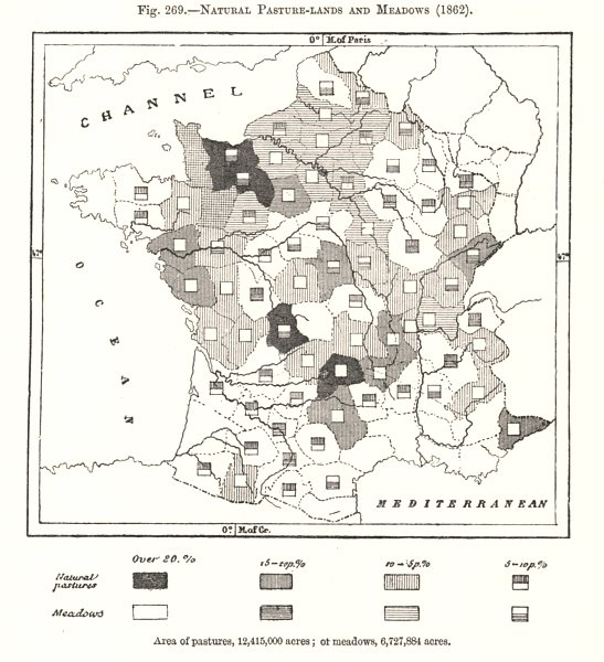 Associate Product Natural Pasture-lands and Meadows (1862). France. Sketch map 1885 old