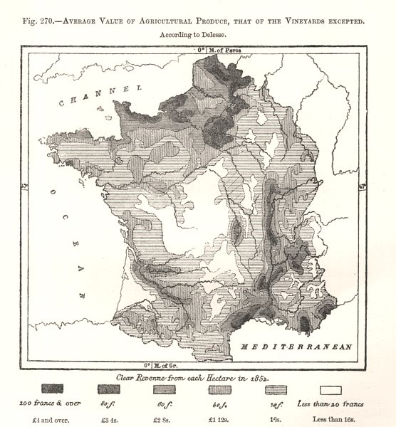 Associate Product Agricultural Produce average value. Delesse. France. Sketch map 1885 old