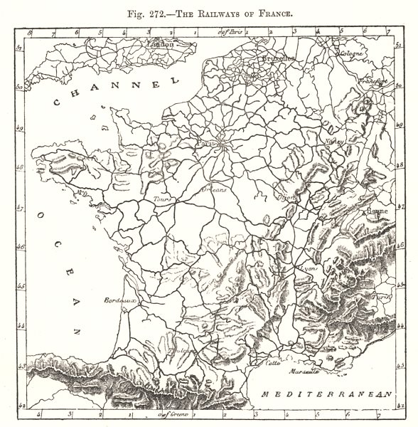 Associate Product The Railways of France. Sketch map 1885 old antique vintage plan chart