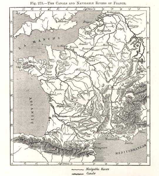 Associate Product The Canals and Navigable Rivers of France. Sketch map 1885 old antique