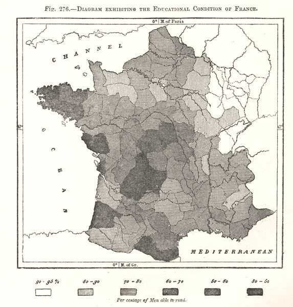 Associate Product Educational Condition of France. Illiteracy. Sketch map 1885 old antique