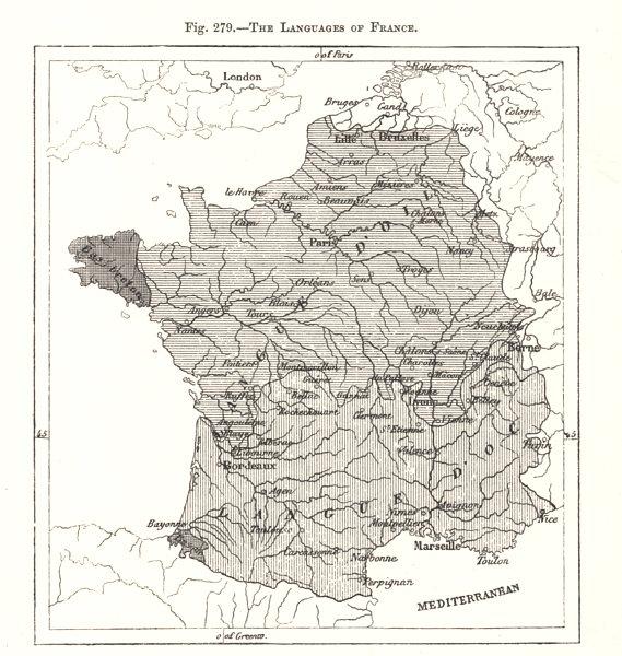 Associate Product Languages of France. Langue d'Oïl Langue d'Oc. Occitan. Sketch map 1885