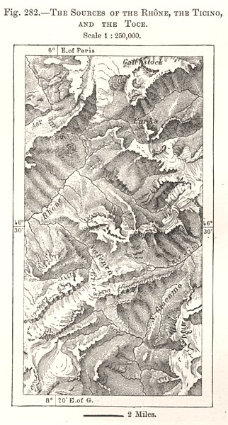 Associate Product The Sources of the Rhone, the Ticino & the Toce. Switzerland. Sketch map 1885