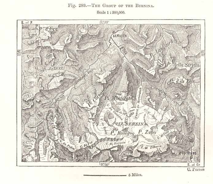Associate Product The Group of the Bernina. Switzerland. Sketch map 1885 old antique chart