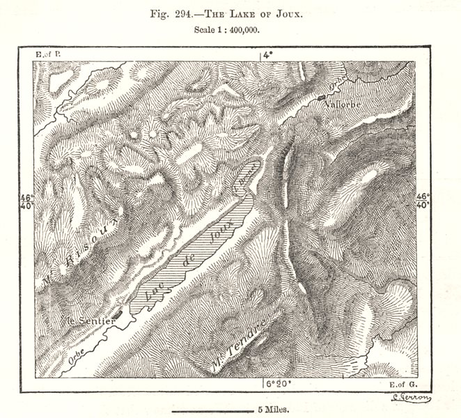 Associate Product The Lake of Joux. Switzerland. Sketch map 1885 old antique plan chart