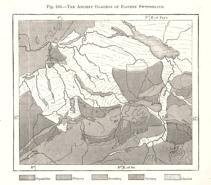 Associate Product The Ancient Glaciers of Eastern Switzerland. Sketch map 1885 old antique