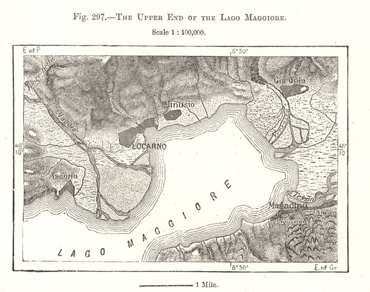 Associate Product The Upper End of the Lake Maggiore. Locarno. Switzerland. Sketch map 1885