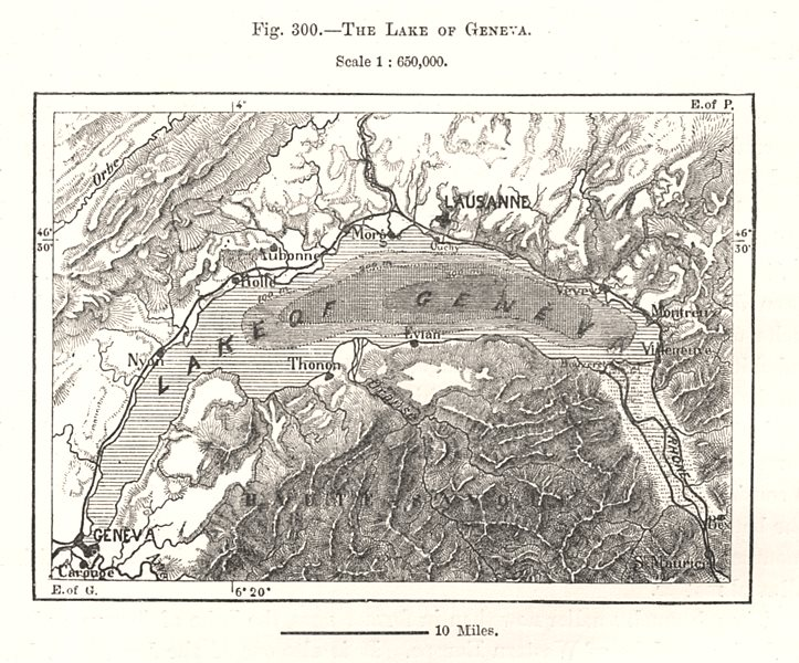 Associate Product The Lake of Geneva. Switzerland. Sketch map 1885 old antique plan chart
