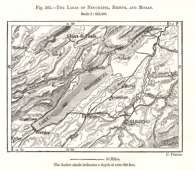 Associate Product The Lakes of Neuchatel, Bienne, and Morat. Switzerland. Sketch map 1885
