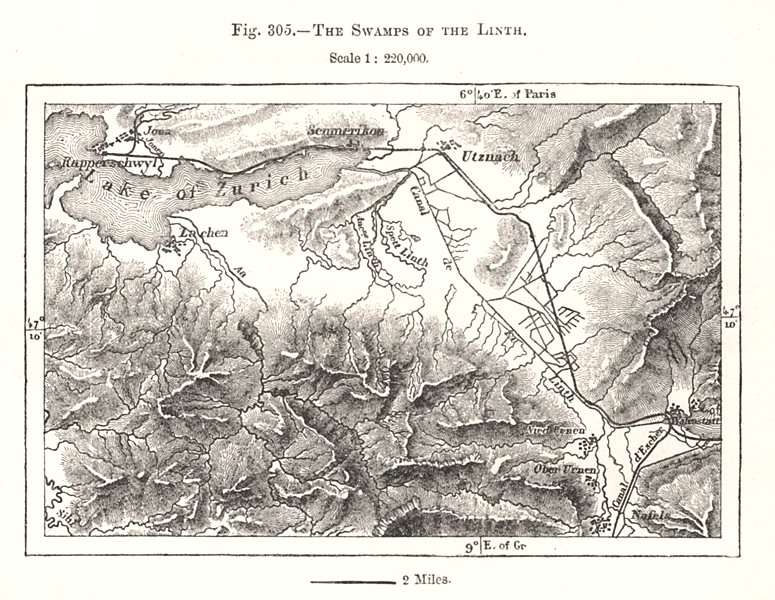 Associate Product The Swamps of the Linth. Zurichsee. Switzerland. Sketch map 1885 old