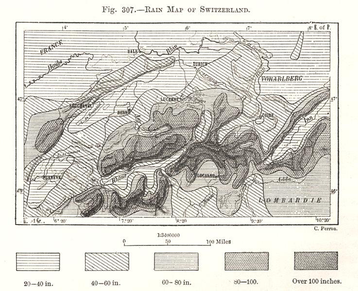 Rain Map of Switzerland. Sketch map 1885 old antique vintage plan chart