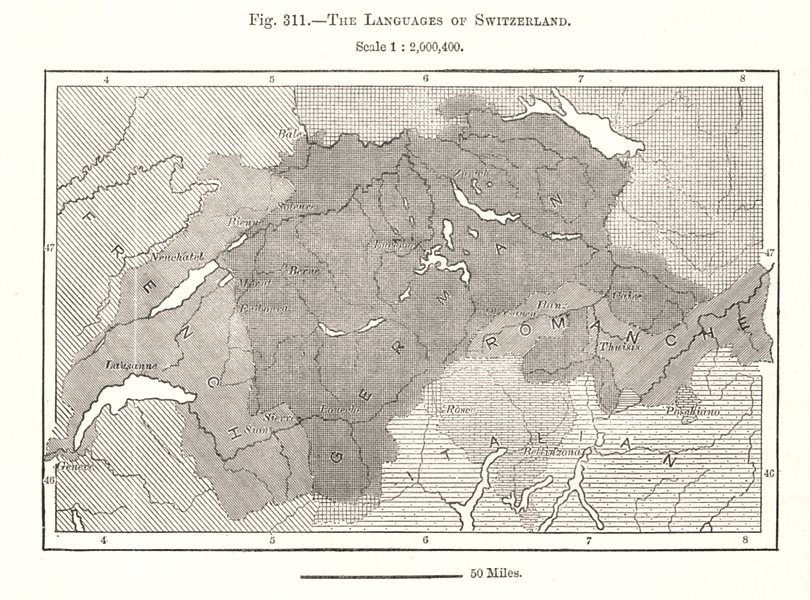 Associate Product The Languages of Switzerland. French German Romanche Italian. Sketch map 1885