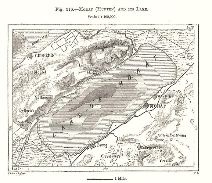 Associate Product Morat (Murten) and its Lake. Murtensee. Switzerland. Sketch map 1885 old