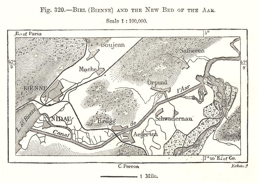 Associate Product Biel (Bienne) and the New Bed of the Aar. Nidau. Switzerland. Sketch map 1885