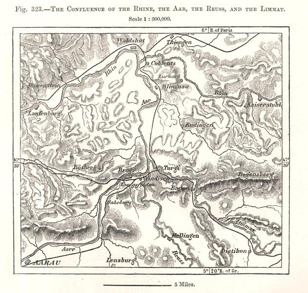 Associate Product Confluence of the Rhine, Aar, Reuss & Limmat. Switzerland. Sketch map 1885