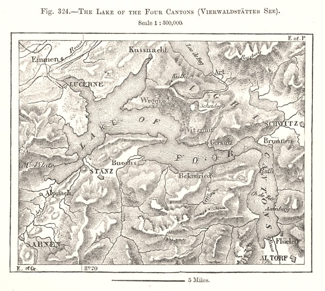 Associate Product Four Cantons Lake Vierwaldstatter See Lake Lucerne. Switzerland. Sketch map 1885