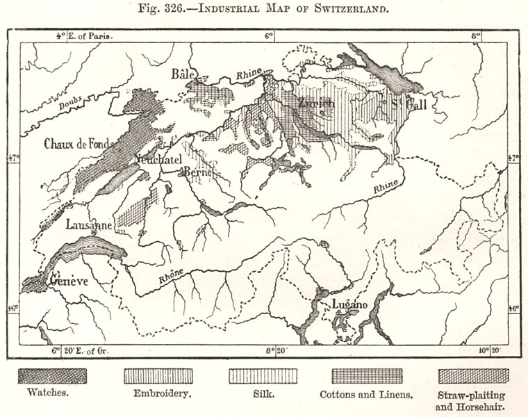 Associate Product Industrial Map of Switzerland. Watches Silk Embroidery. Sketch map 1885