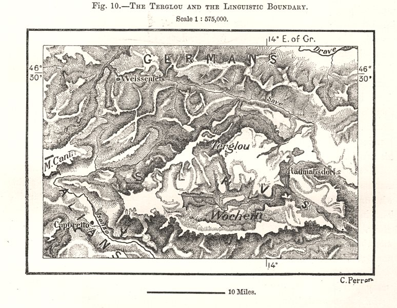 Associate Product The Terglav and the German Linguistic Boundary. Slovenia. Sketch map 1885
