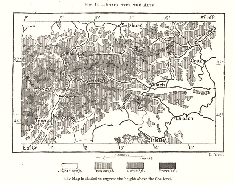 Associate Product Roads Over The Alps. Europe. Sketch map 1885 old antique plan chart