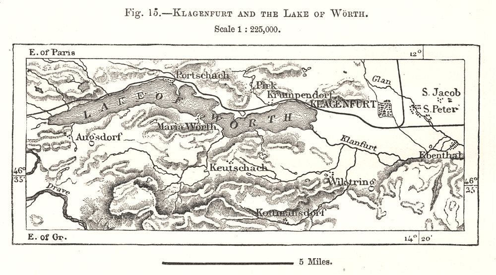 Associate Product Klagenfurt and the Lake of Woerth. Wörthersee. Austria. Sketch map 1885