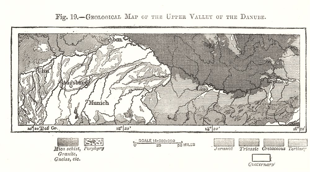 Associate Product Geological Map of the Upper Valley of the Danube. Austria. Sketch map 1885