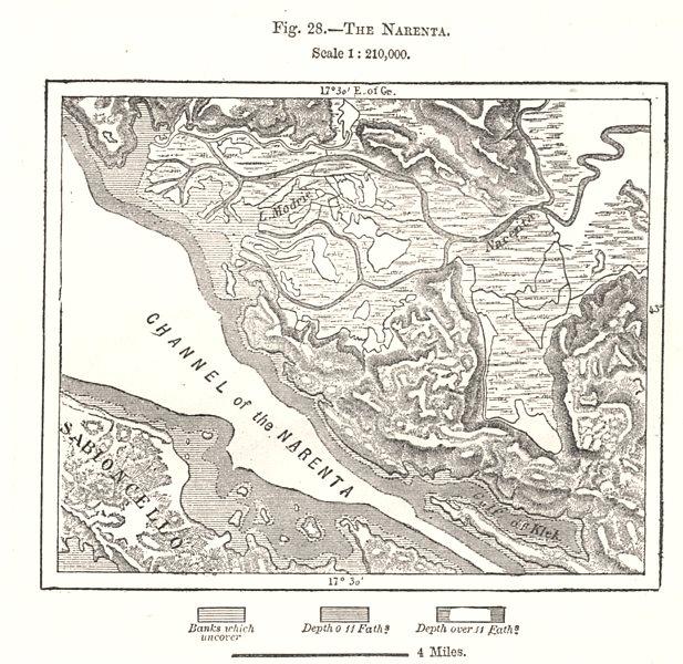 The Narenta. Croatia. Sketch map 1885 old antique vintage plan chart