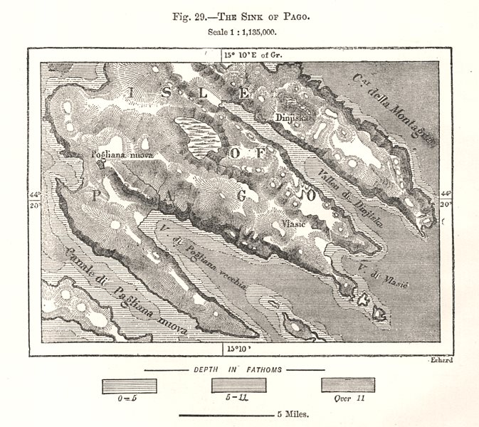 Associate Product The Sink of Pag. Croatia. Sketch map 1885 old antique vintage plan chart