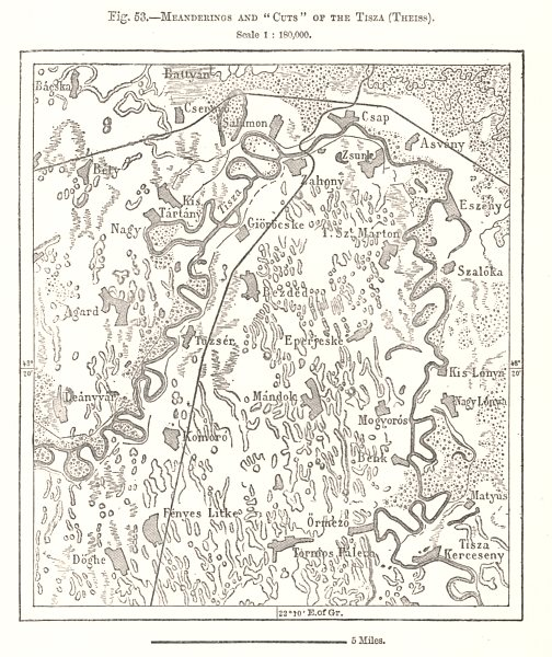 """Associate Product Meanderings and """"Cuts"""" of the Tisza (Theiss). Hungary. Sketch map 1885 old"""