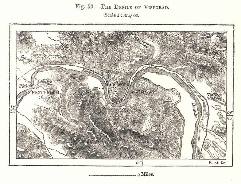 Associate Product The Defile of Visegrad. Esztergom Hungary. Sketch map 1885 old antique