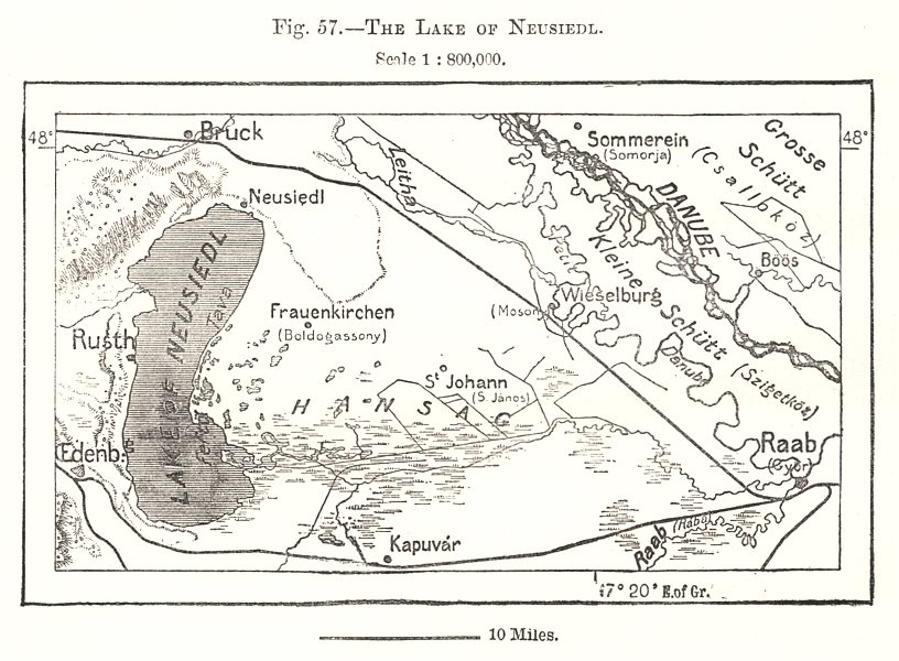 Associate Product The Lake of Neusiedl. Gyor Raab. Austria. Sketch map 1885 old antique