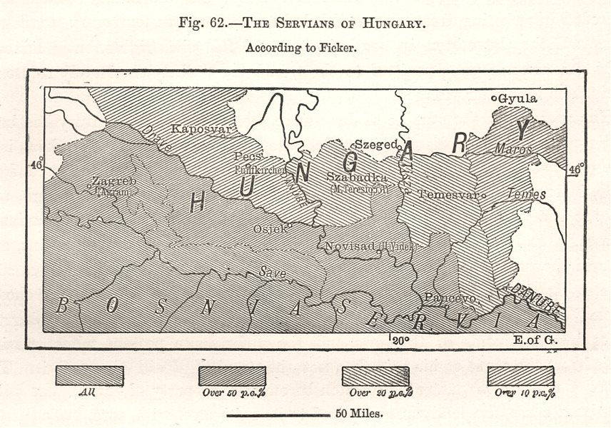 Associate Product The Serbians of Hungary. Croatia. Sketch map 1885 old antique plan chart