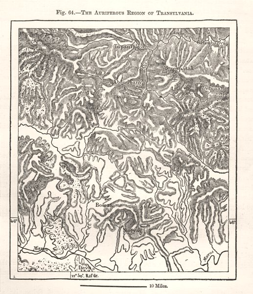 Associate Product The Auriferous Region of Transylvania. Romania. Sketch map 1885 old