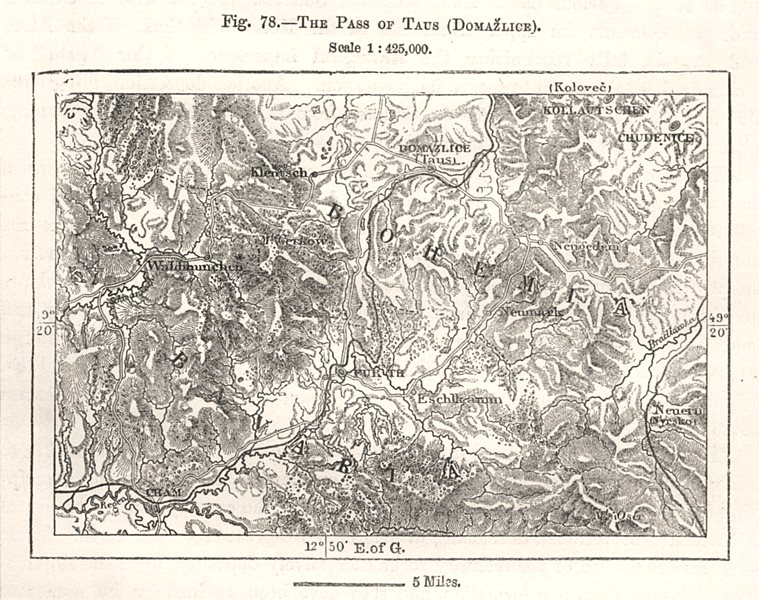 Associate Product The Pass of Taus (Domazilce). Furth im Wald. Cham. Czech Rep. Sketch map 1885