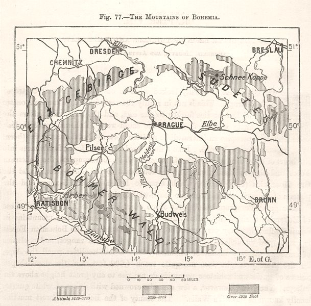 Associate Product The Mountains of Bohemia. Czech Rep. Prague. Sketch map 1885 old antique