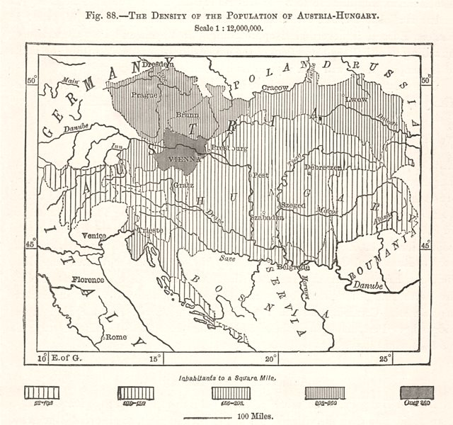Associate Product The Density of the Population of Austria-Hungary. Europe. Sketch map 1885