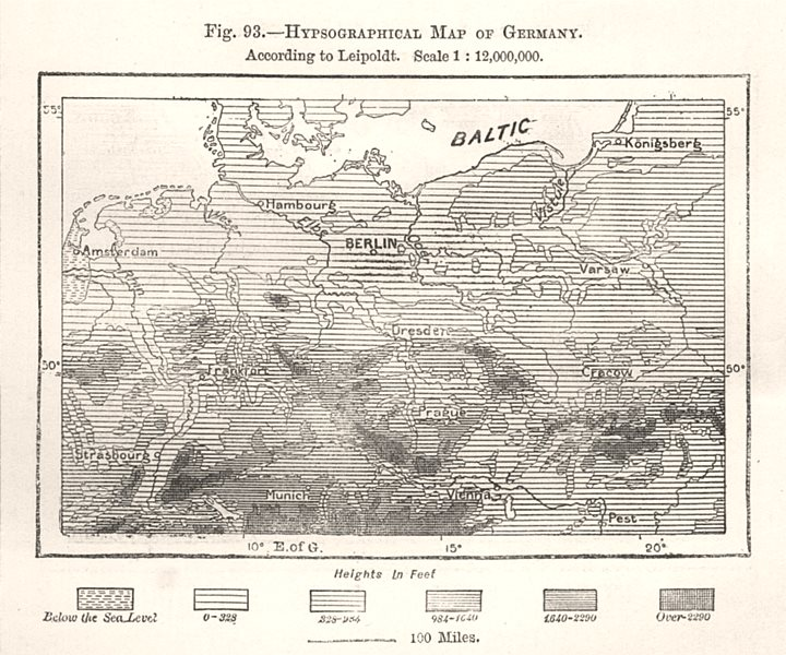 Associate Product Hypsographical Map of Germany per Leipoldt. Elevation sketch map 1885