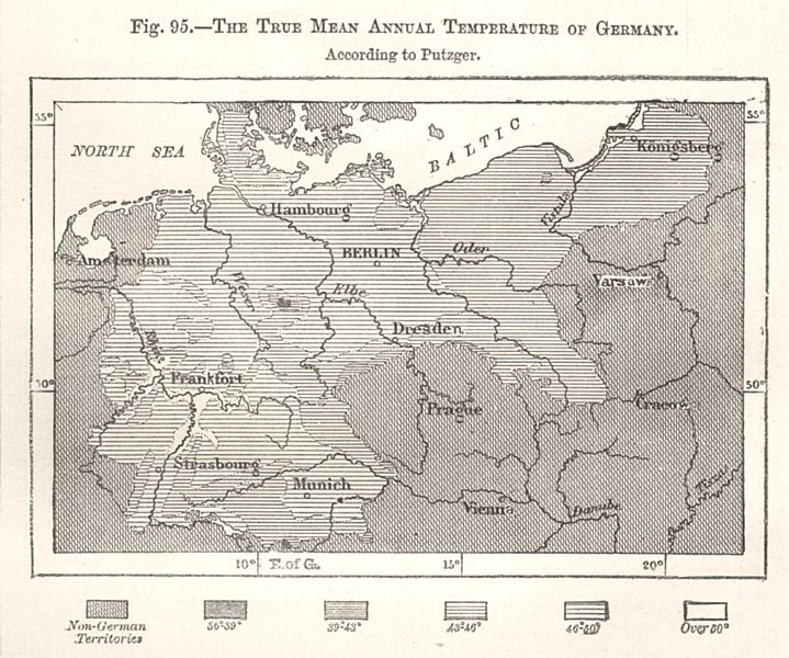Associate Product The True Mean Annual Temperature of Germany per Putzger. Sketch map 1885