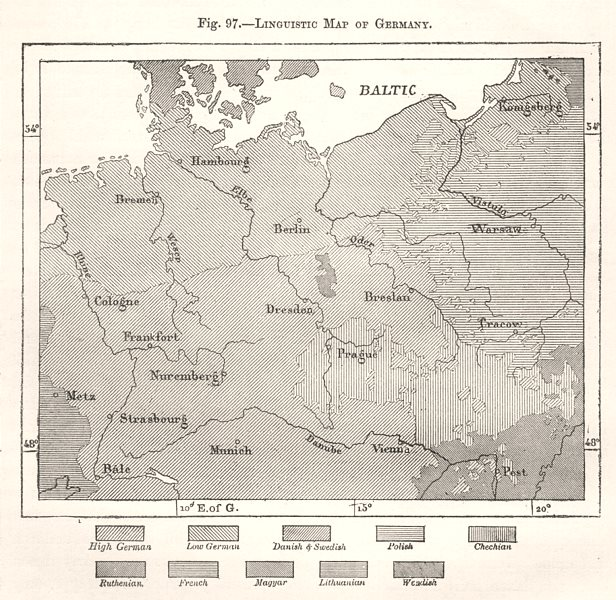 Associate Product Linguistic Map of Germany. High/Low German. Sketch map 1885 old antique